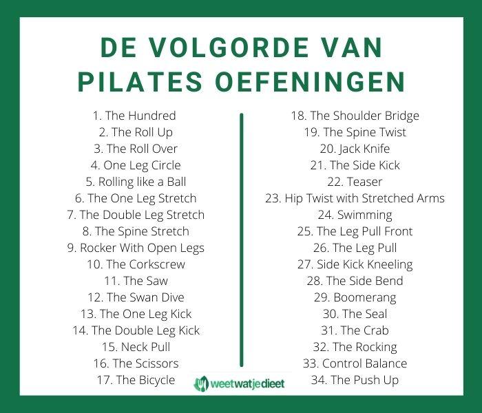 De volgorde van pilates oefeningen