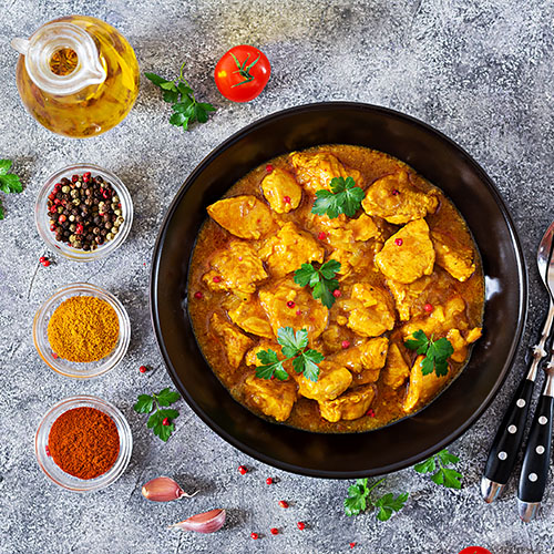 Curry met kip uit de oven - Koolhydraatarme recepten met kip